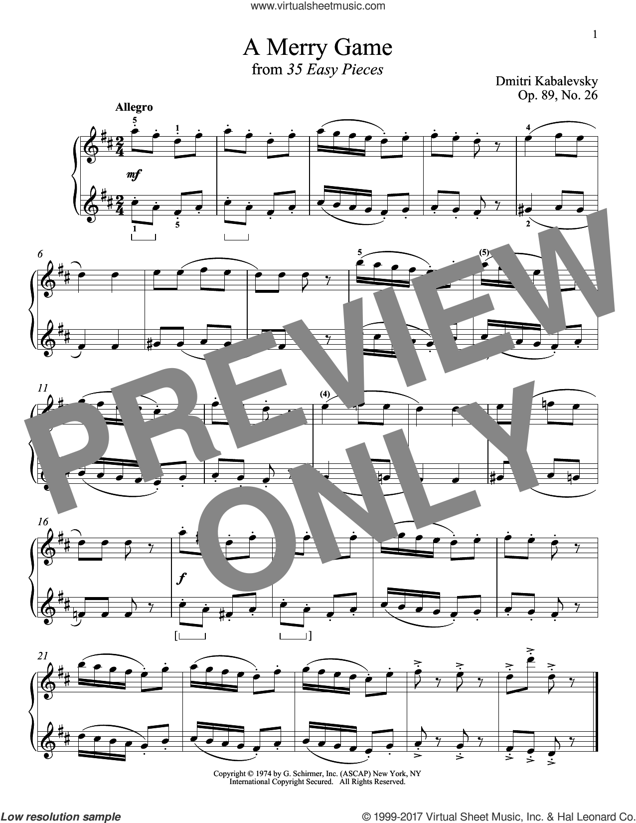 A Merry Game sheet music for piano solo by Dmitri Kabalevsky, classical score, intermediate skill level