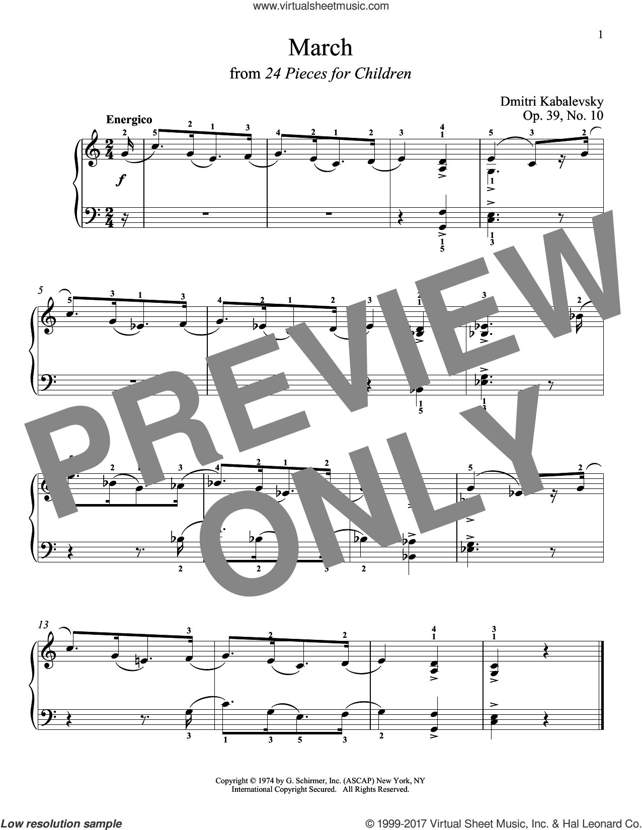 March sheet music for piano solo by Dmitri Kabalevsky. Score Image Preview.