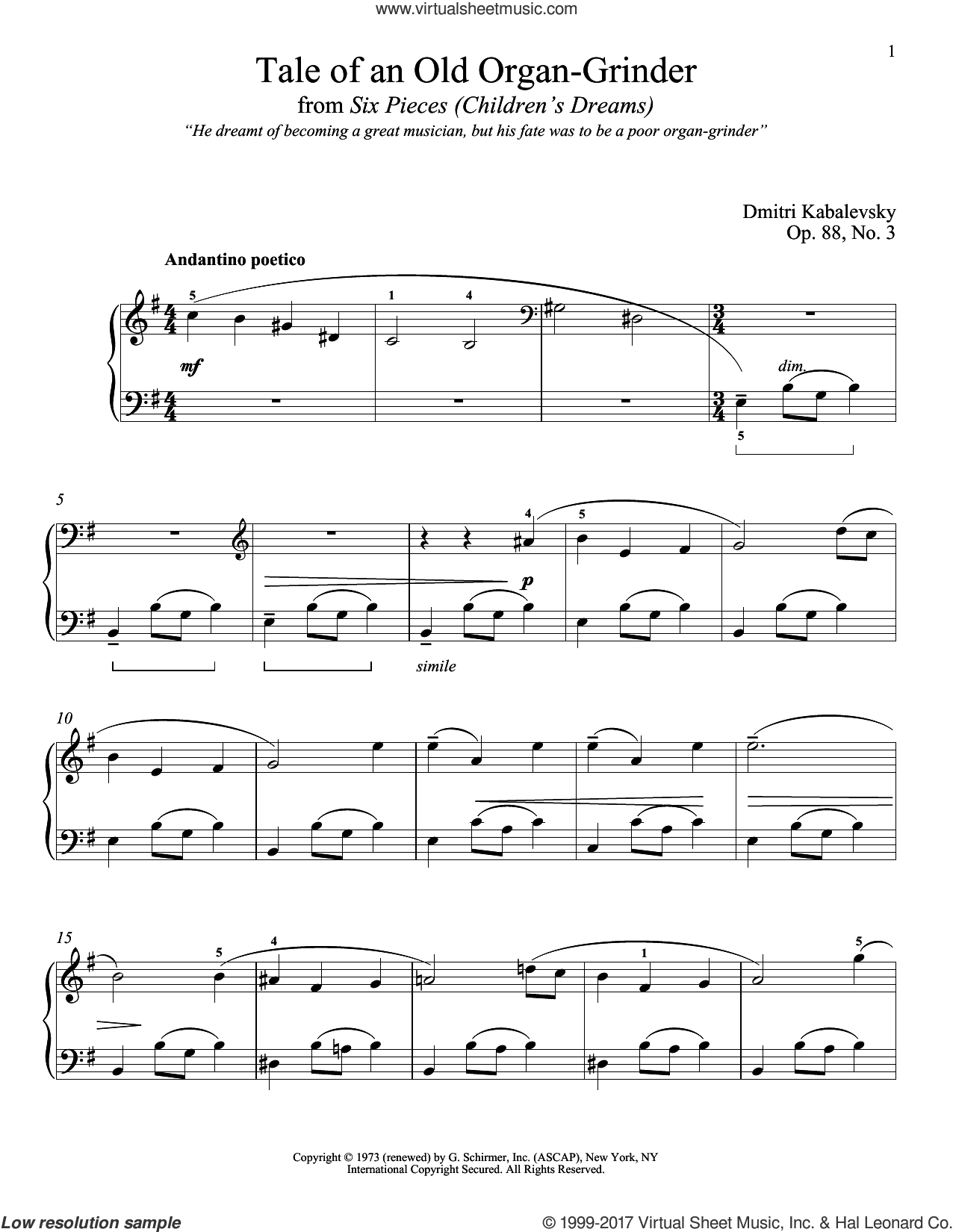 Tale Of An Old Organ-Grinder, Op. 88, No. 3 sheet music for piano solo by Dmitri Kabalevsky. Score Image Preview.