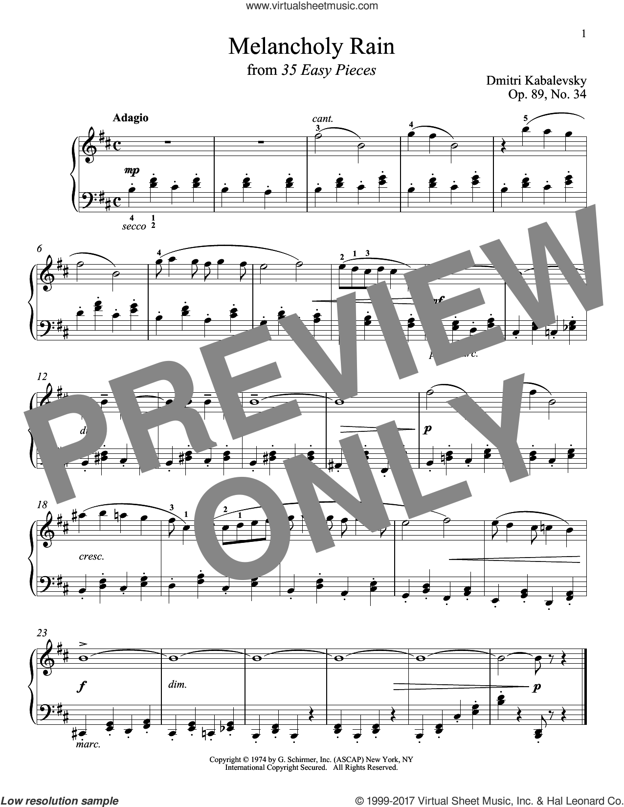 Melancholy Rain, Op. 89, No. 34 sheet music for piano solo by Dmitri Kabalevsky, classical score, intermediate. Score Image Preview.