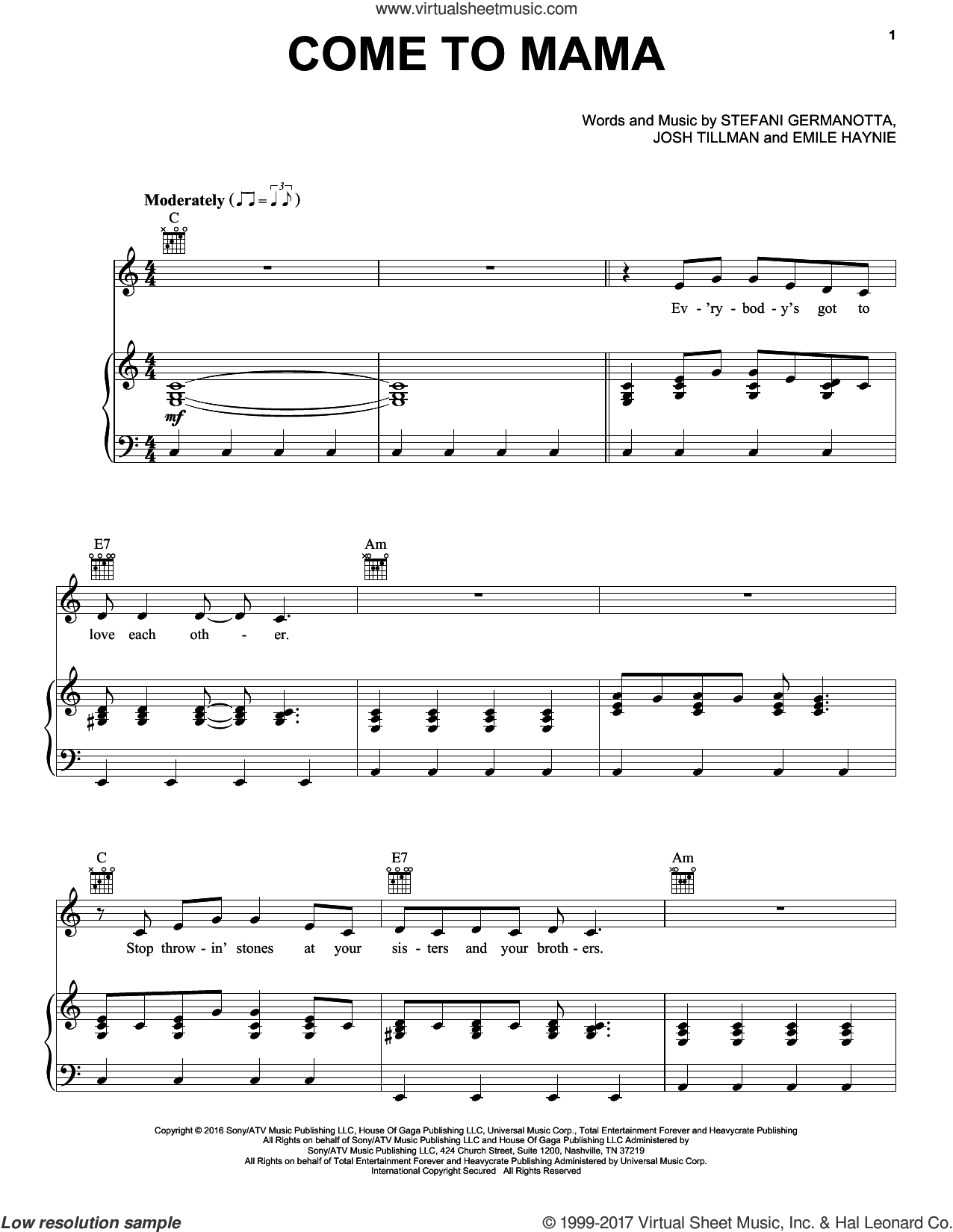 Come To Mama sheet music for voice, piano or guitar by Josh Tillman, Emile Haynie and Lady Gaga. Score Image Preview.