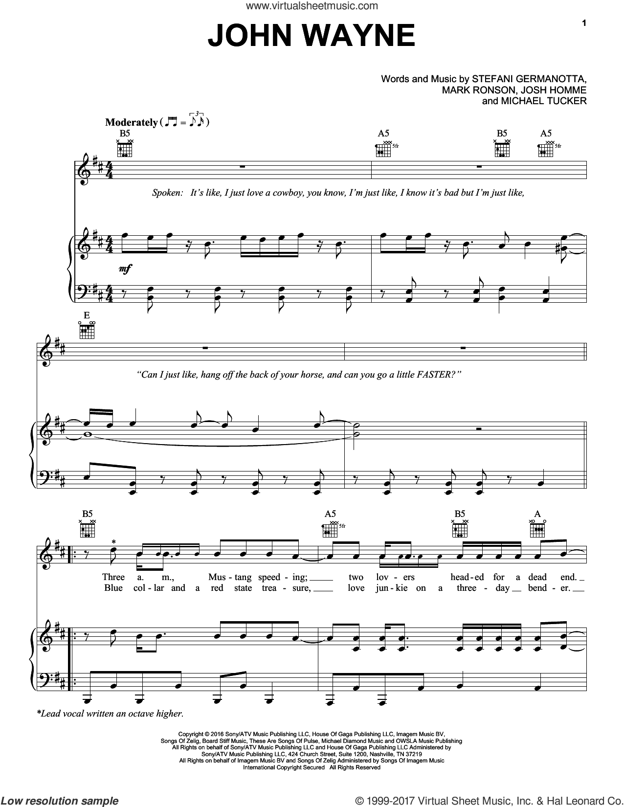 John Wayne sheet music for voice, piano or guitar by Lady Gaga, Josh Homme, Mark Ronson and Michael Tucker, intermediate skill level