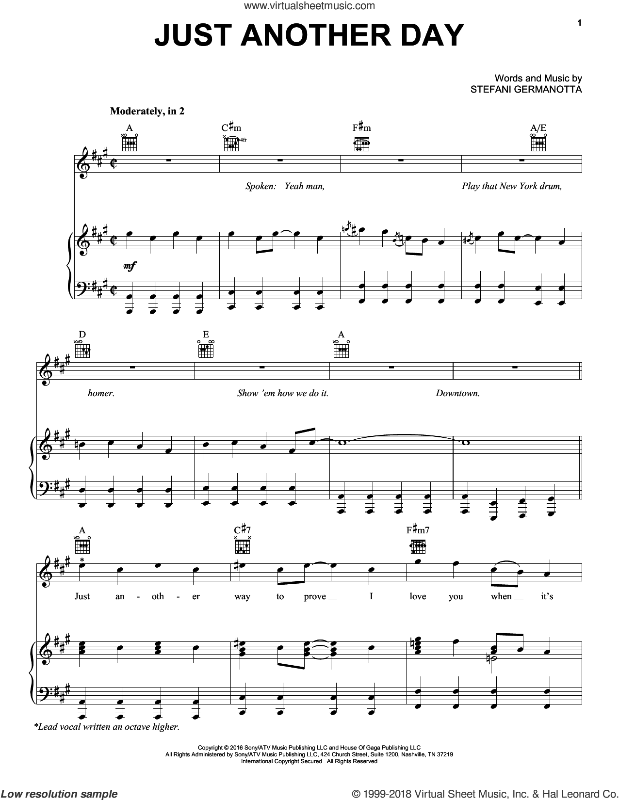 Just Another Day sheet music for voice, piano or guitar by Lady Gaga, intermediate. Score Image Preview.