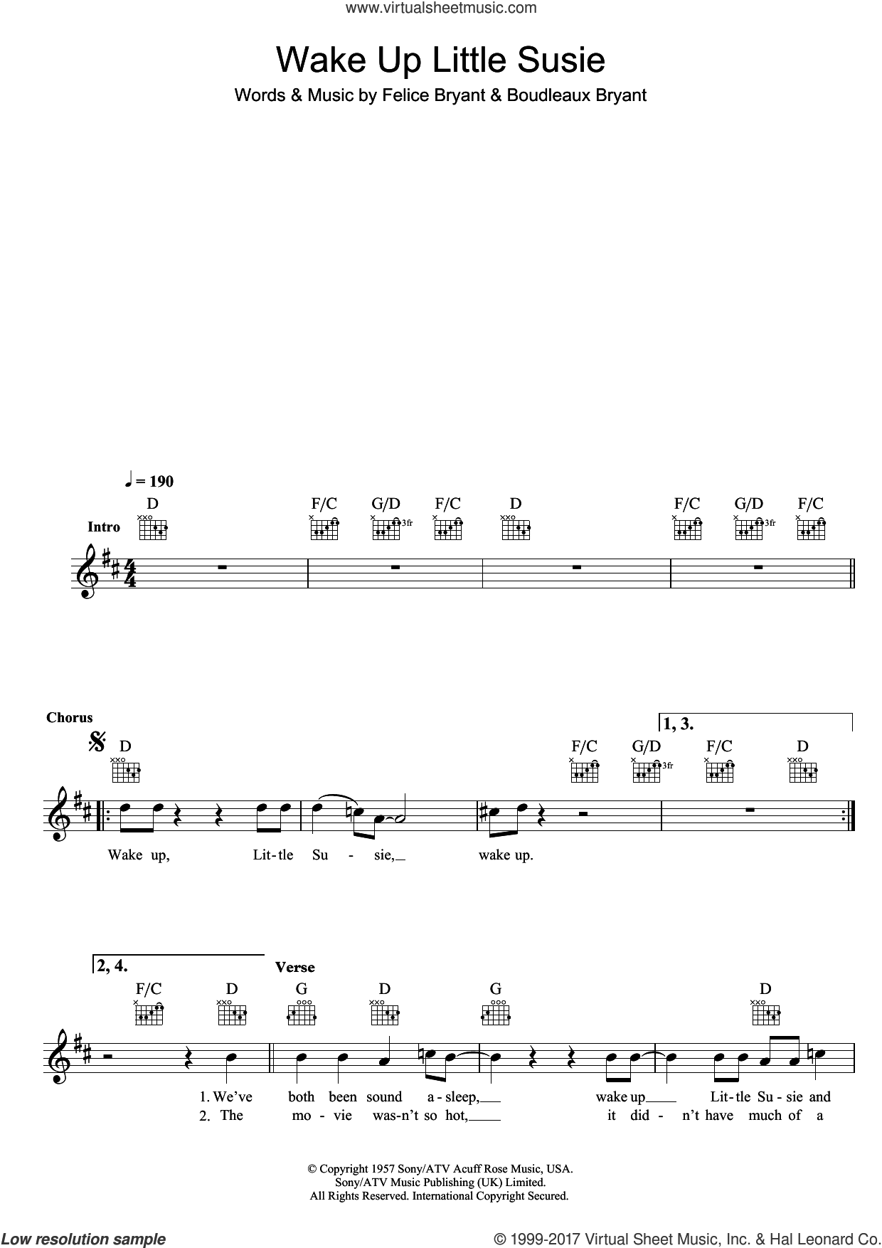 Wake Up Little Susie sheet music for voice and other instruments (fake book) by The Everly Brothers, intermediate voice. Score Image Preview.