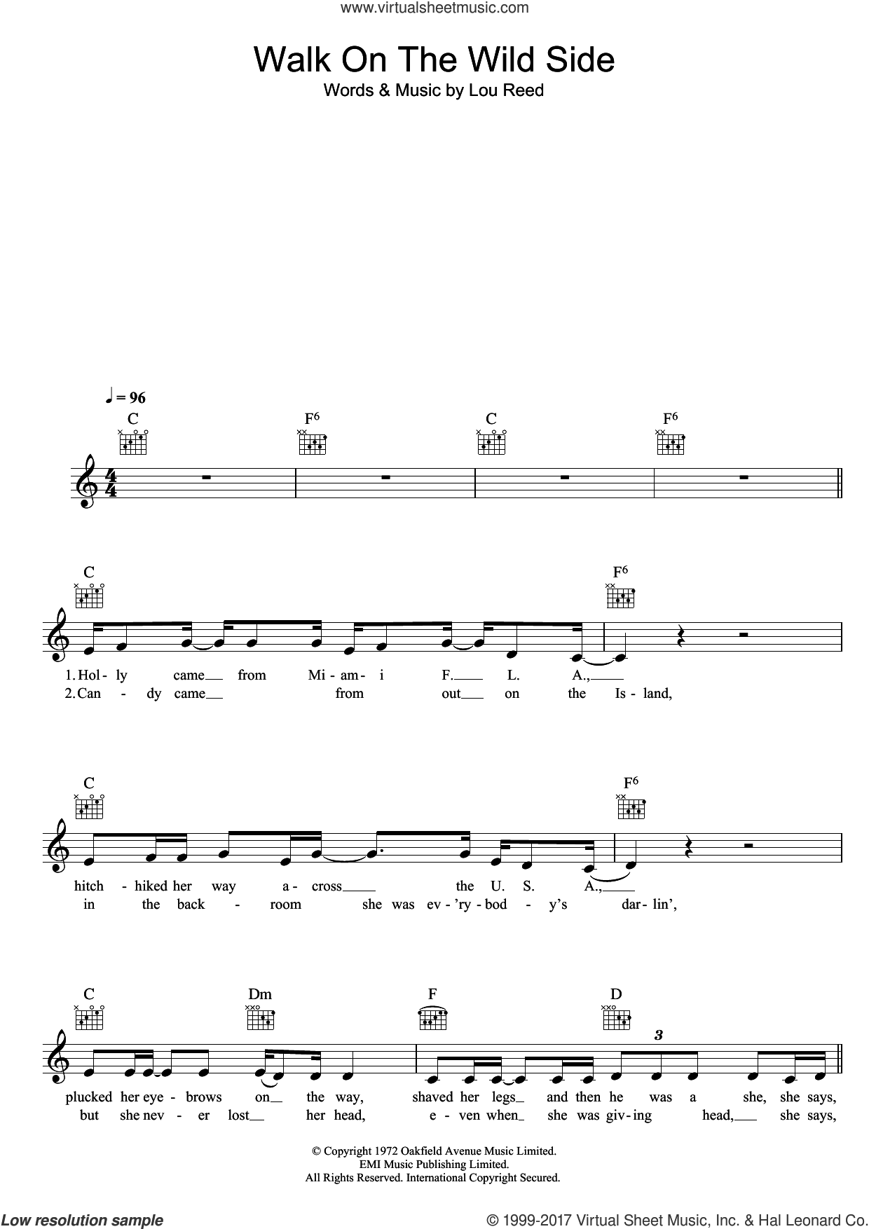 Walk On The Wild Side sheet music for voice and other instruments (fake book) by Lou Reed. Score Image Preview.