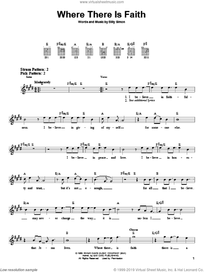 Where There Is Faith sheet music for guitar solo (chords) by 4Him and Billy Simon, easy guitar (chords)