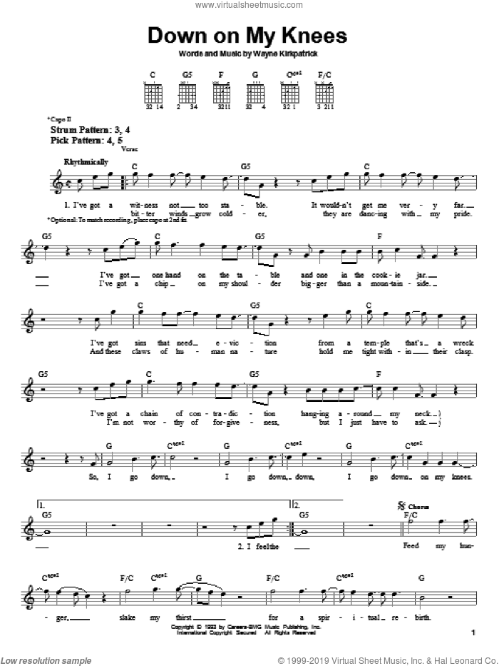 Down On My Knees sheet music for guitar solo (chords) by Wayne Kirkpatrick and Susan Ashton. Score Image Preview.