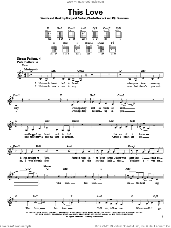 This Love sheet music for guitar solo (chords) by Margaret Becker, Charlie Peacock and Kip Summers, easy guitar (chords). Score Image Preview.