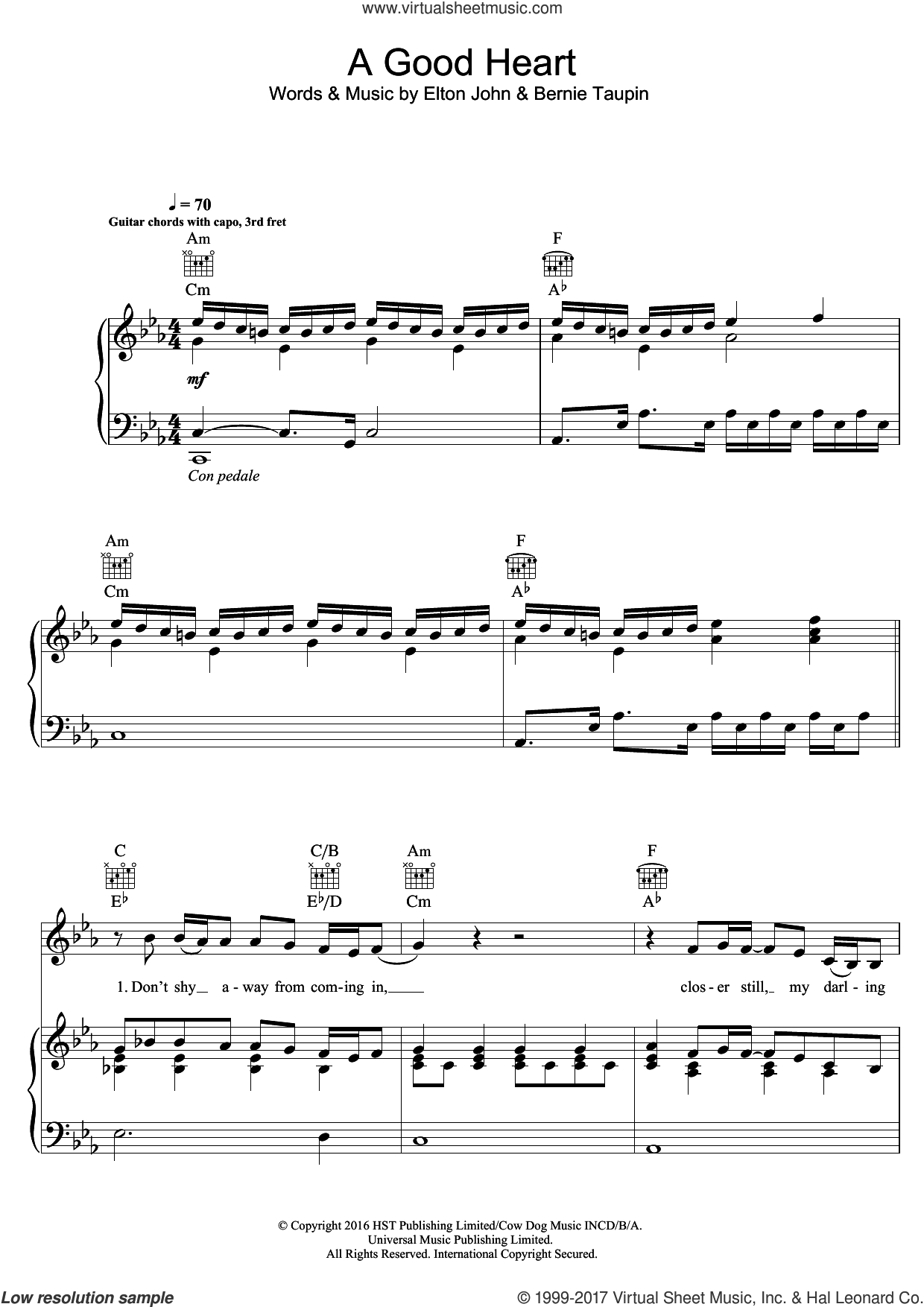 A Good Heart sheet music for voice, piano or guitar by Elton John, intermediate skill level