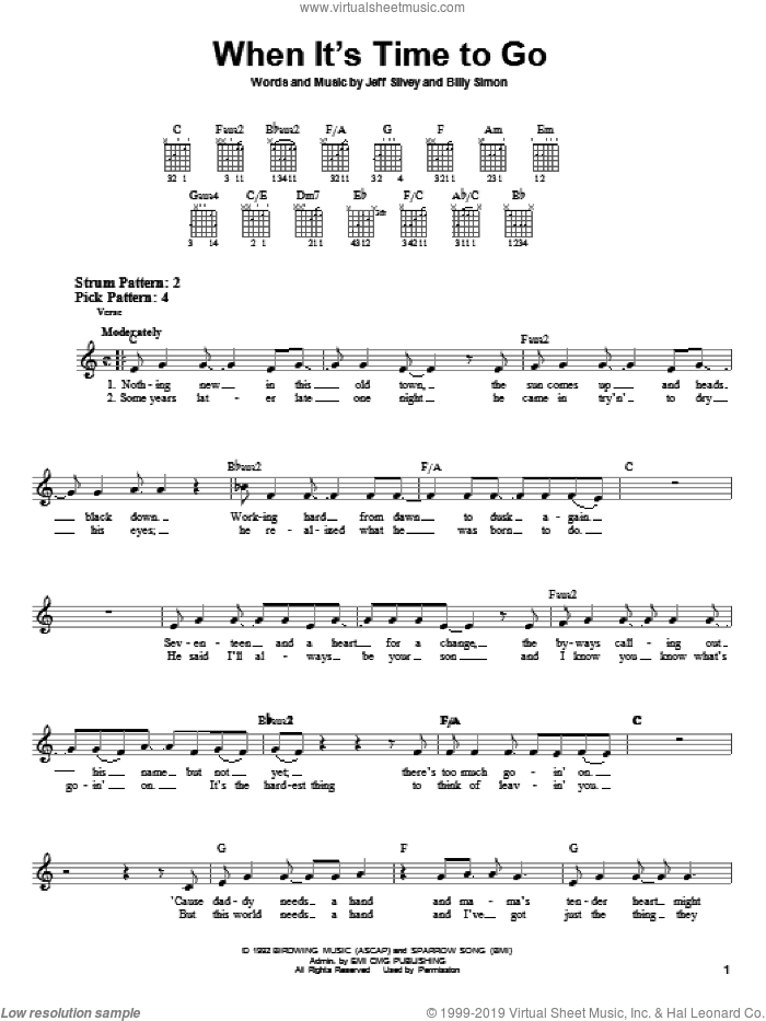 When It's Time To Go sheet music for guitar solo (chords) by 4Him, Billy Simon and Jeff Silvey, easy guitar (chords)