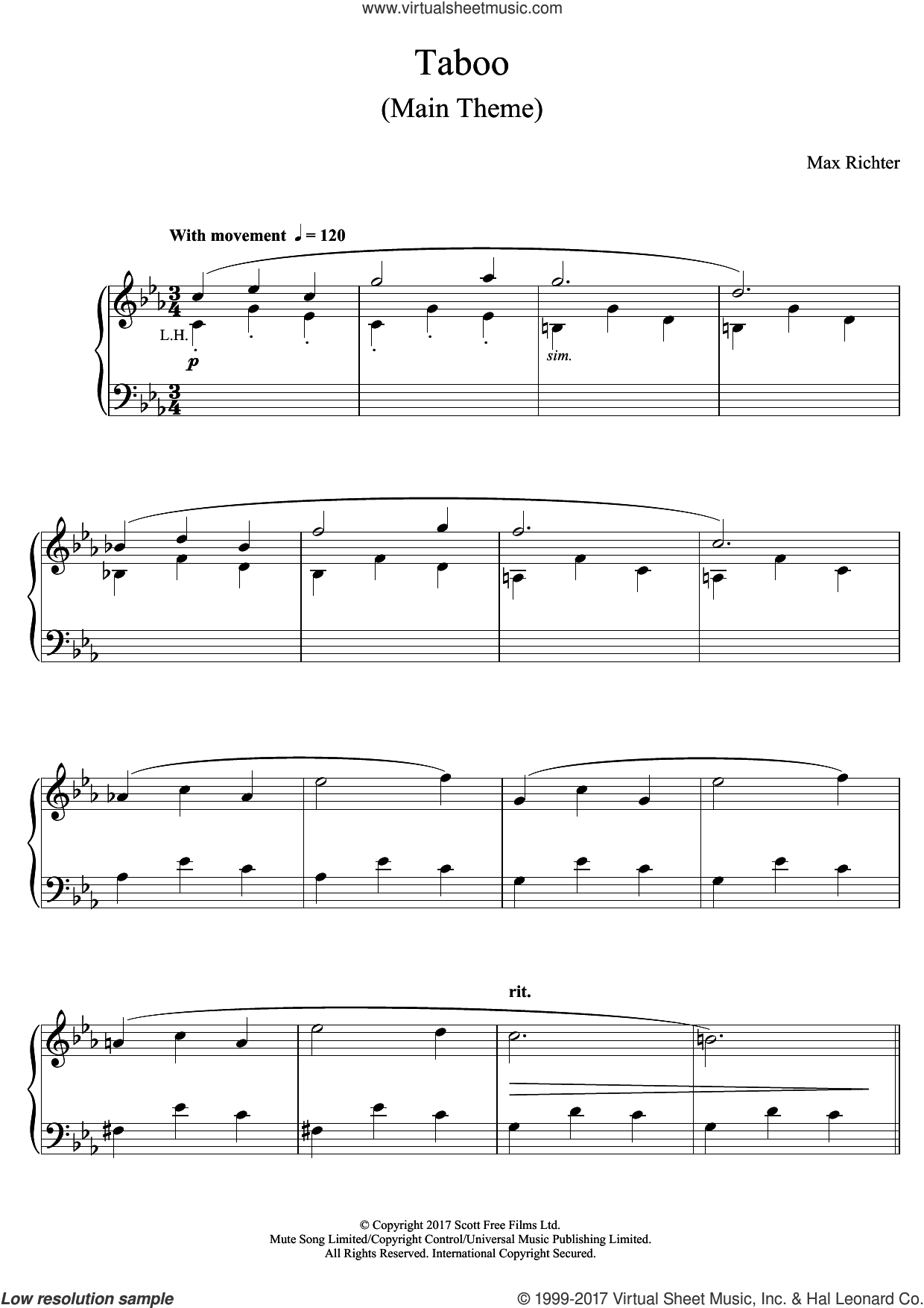 Taboo (Main Theme) sheet music for piano solo by Max Richter, classical score, intermediate skill level