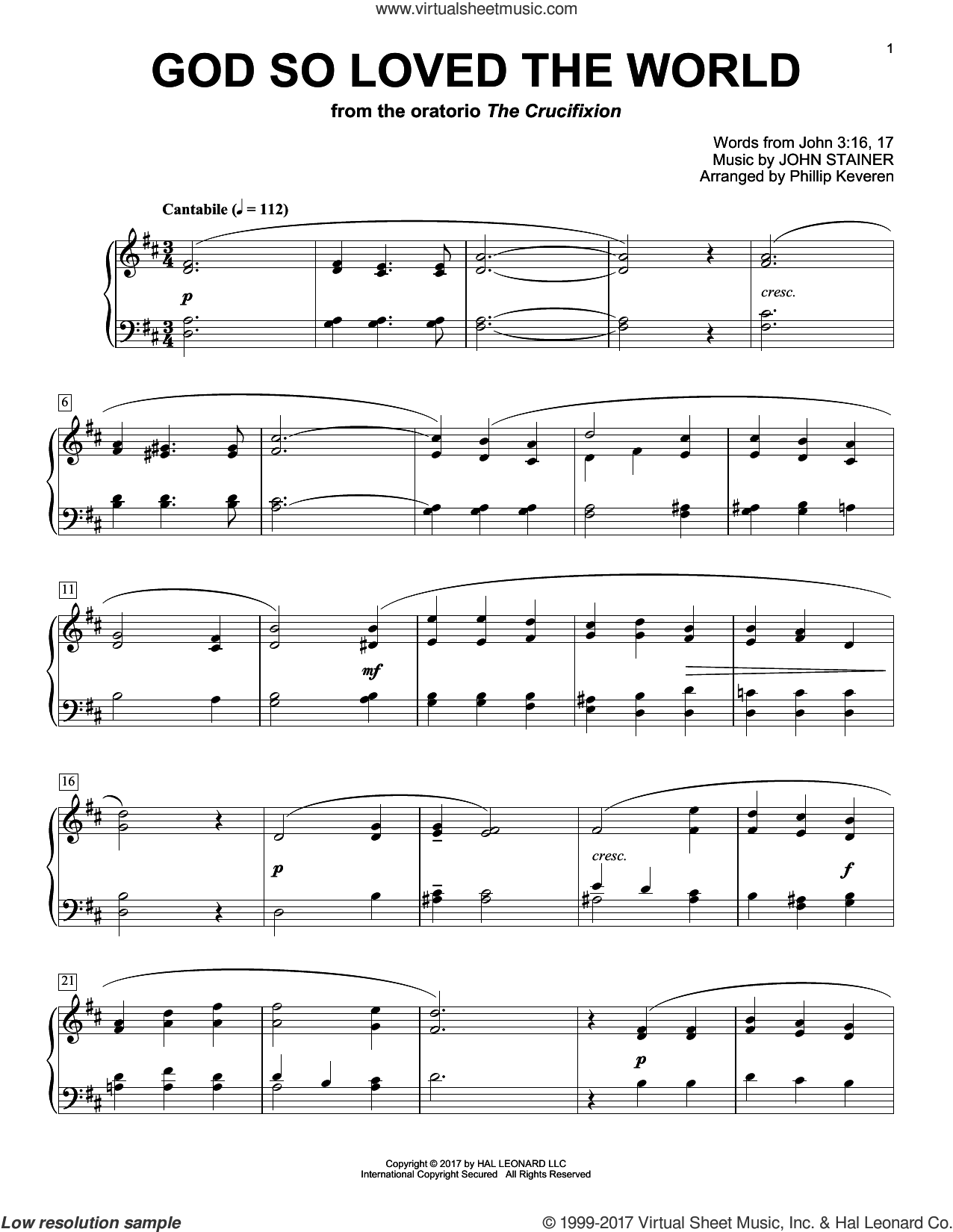 God So Loved The World sheet music for piano solo by John Stainer, Phillip Keveren and Miscellaneous, classical score, intermediate skill level