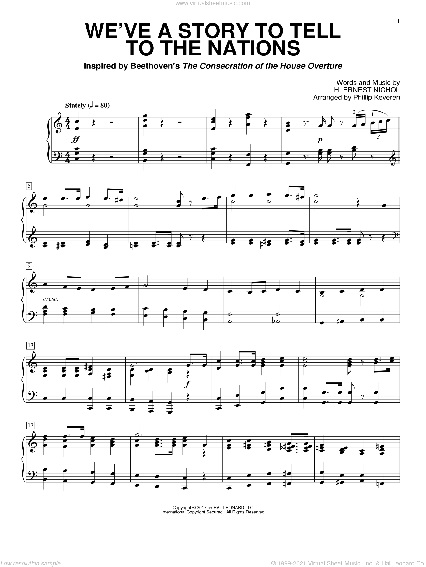 We've A Story To Tell To The Nations sheet music for piano solo by H. Ernest Nichol and Phillip Keveren. Score Image Preview.