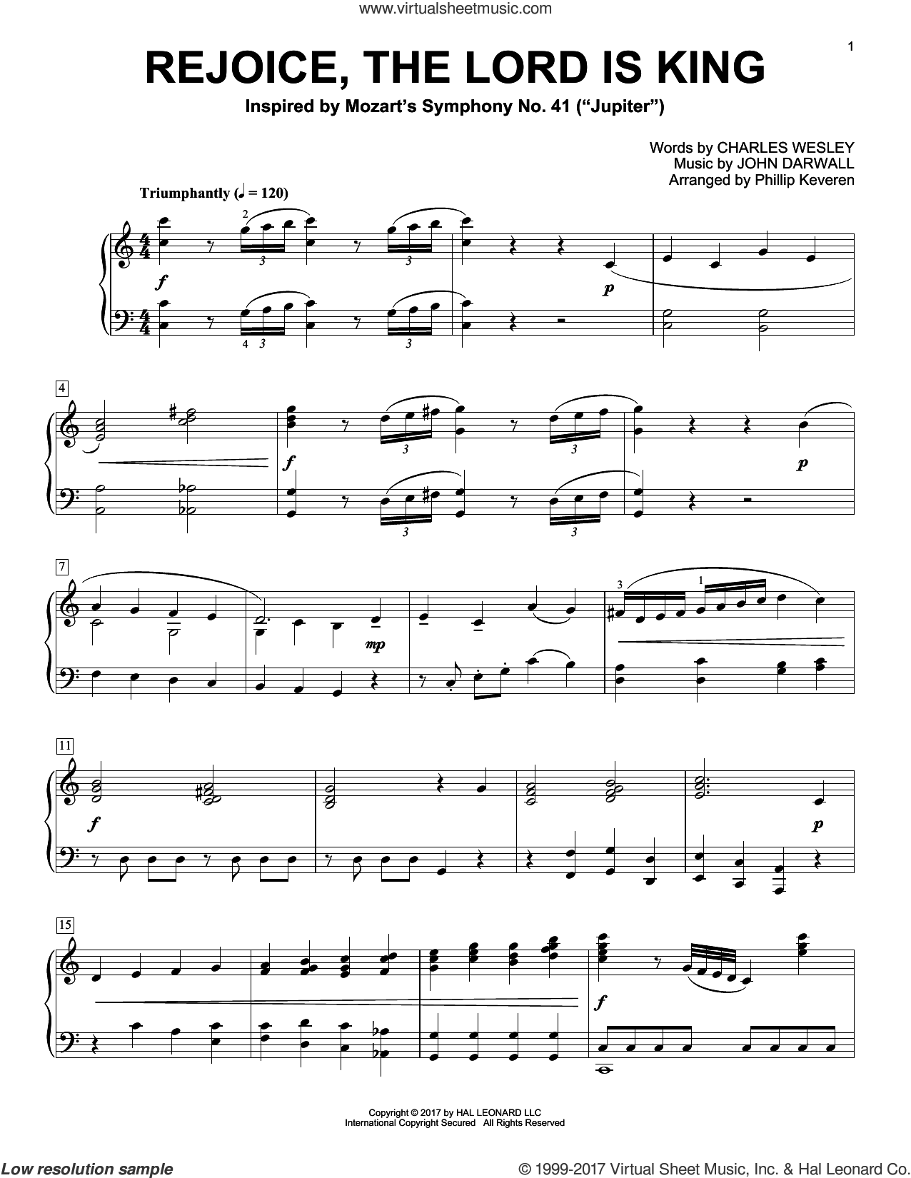 Rejoice, The Lord Is King, (intermediate) sheet music for piano solo by Charles Wesley, Phillip Keveren and John Darwall, intermediate
