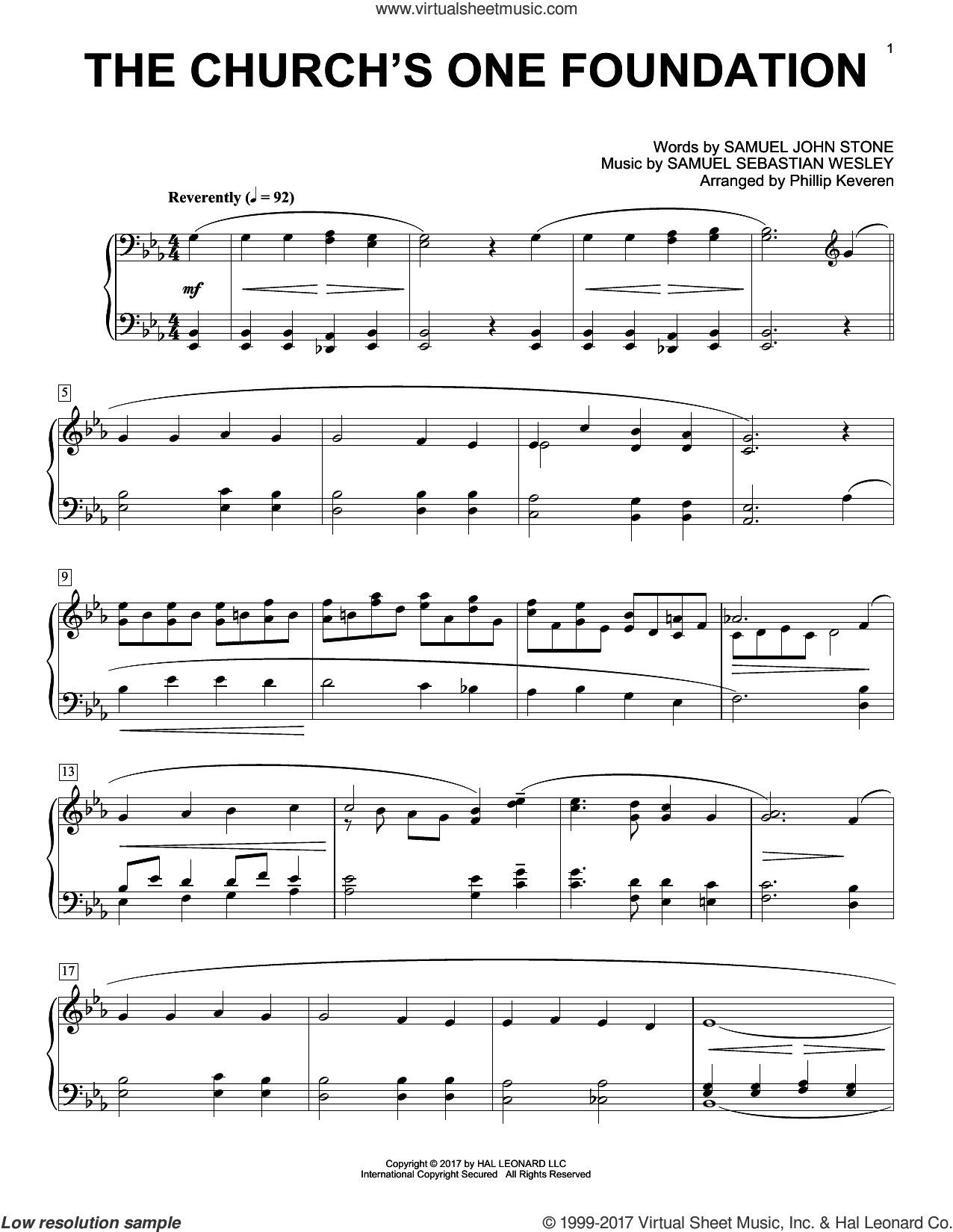 The Church's One Foundation sheet music for piano solo by Samuel Sebastian Wesley, Phillip Keveren and Samuel John Stone, intermediate. Score Image Preview.