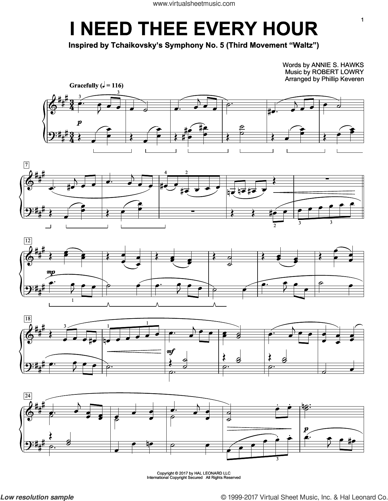 I Need Thee Every Hour sheet music for piano solo by Robert Lowry, Phillip Keveren and Annie S. Hawks, intermediate skill level
