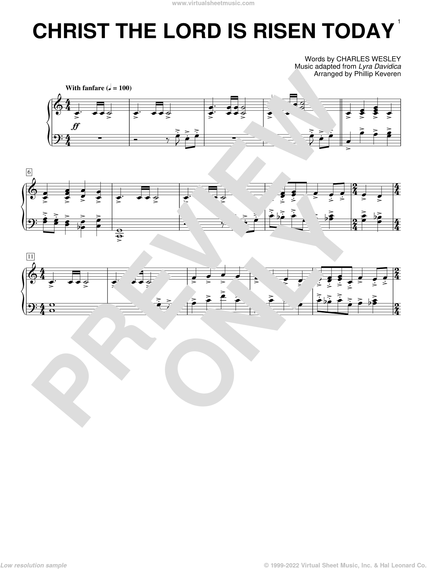 Christ The Lord Is Risen Today sheet music for piano solo by Charles Wesley, Phillip Keveren and Lyra Davidica, intermediate skill level