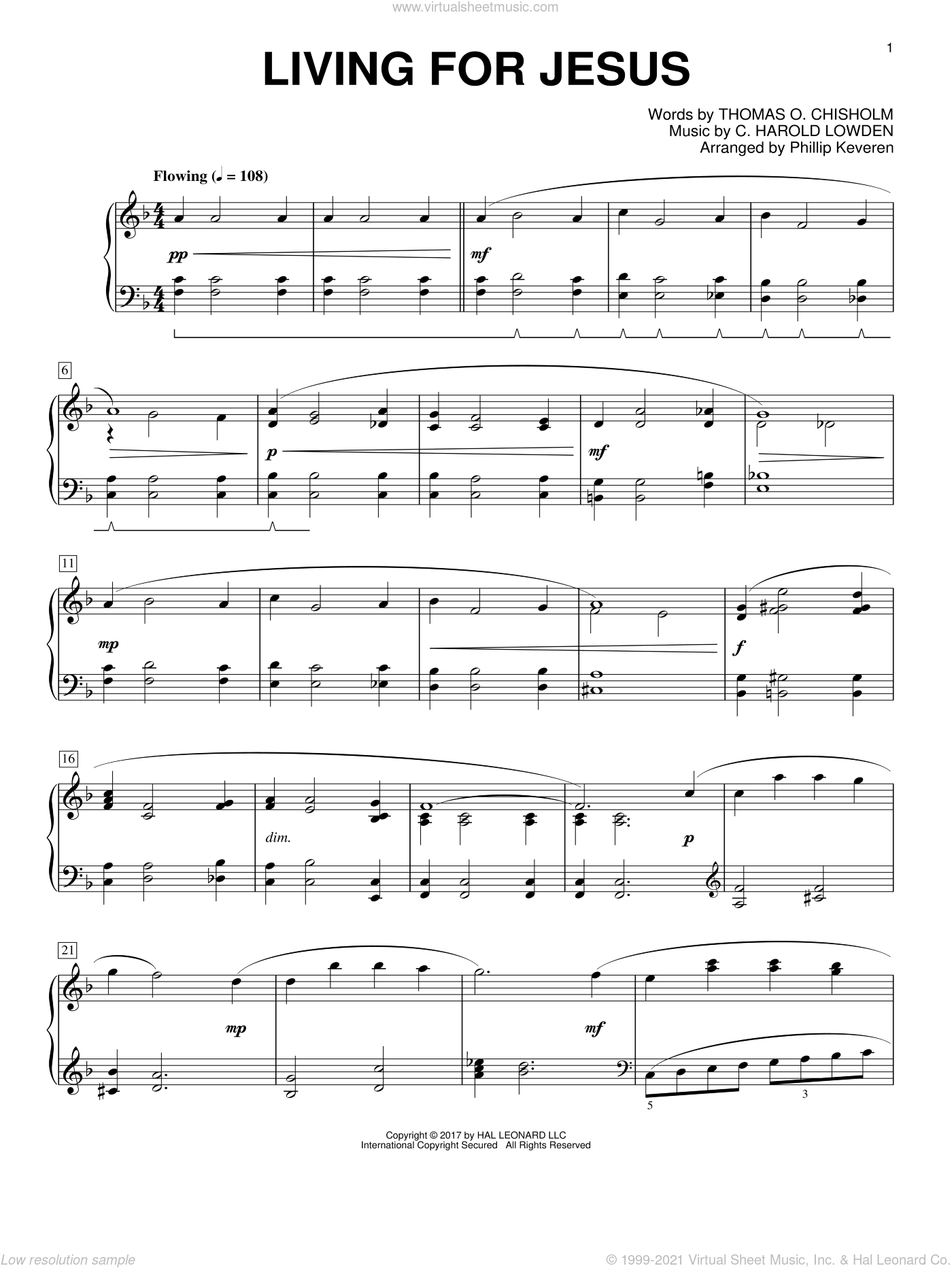 Living For Jesus sheet music for piano solo by Thomas O. Chisholm, Phillip Keveren and C. Harold Lowden, intermediate skill level