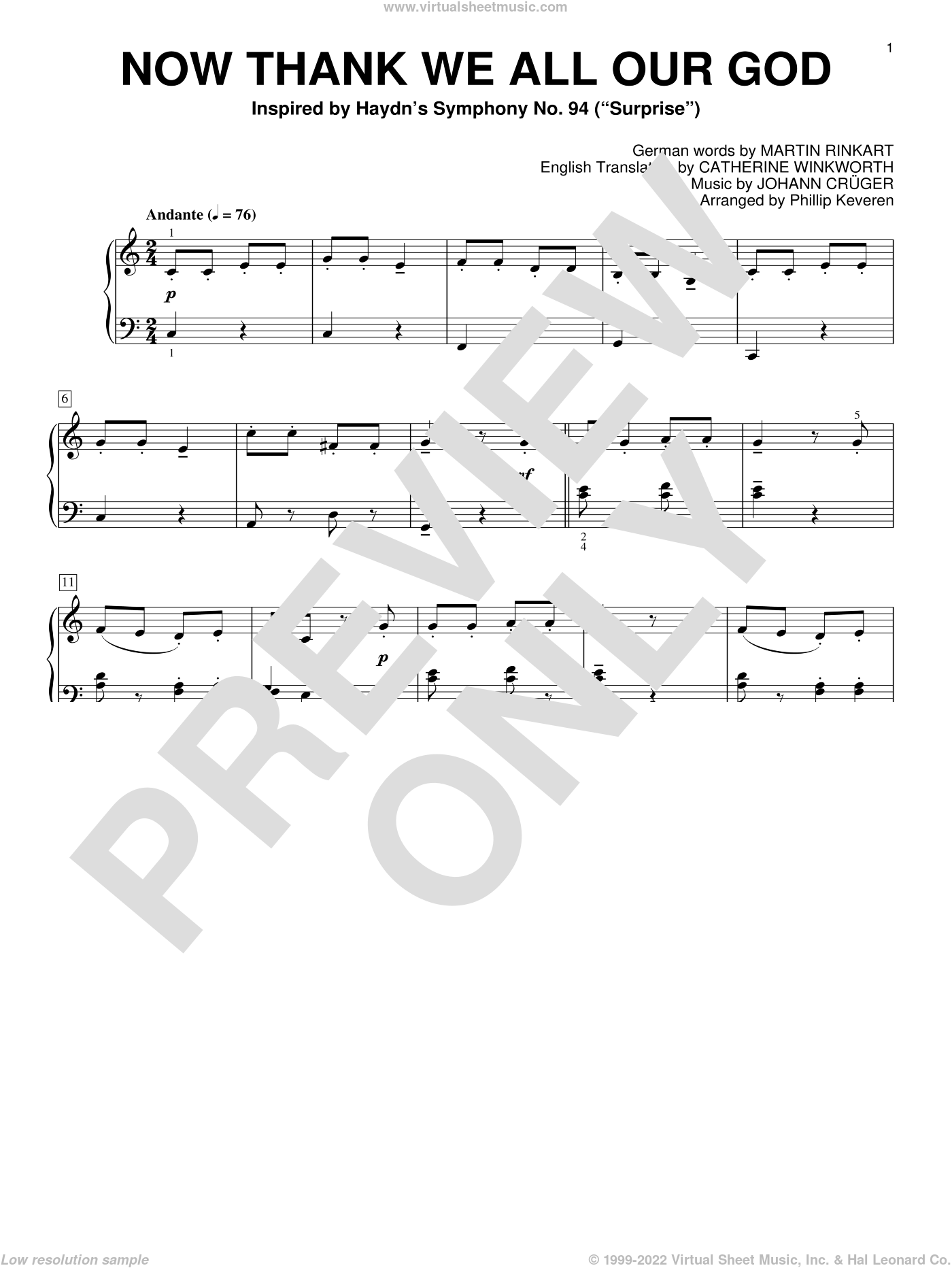 Now Thank We All Our God sheet music for piano solo by Johann Cruger, Phillip Keveren, Catherine Winkworth (Trn.) and Martin Rinkart, intermediate skill level