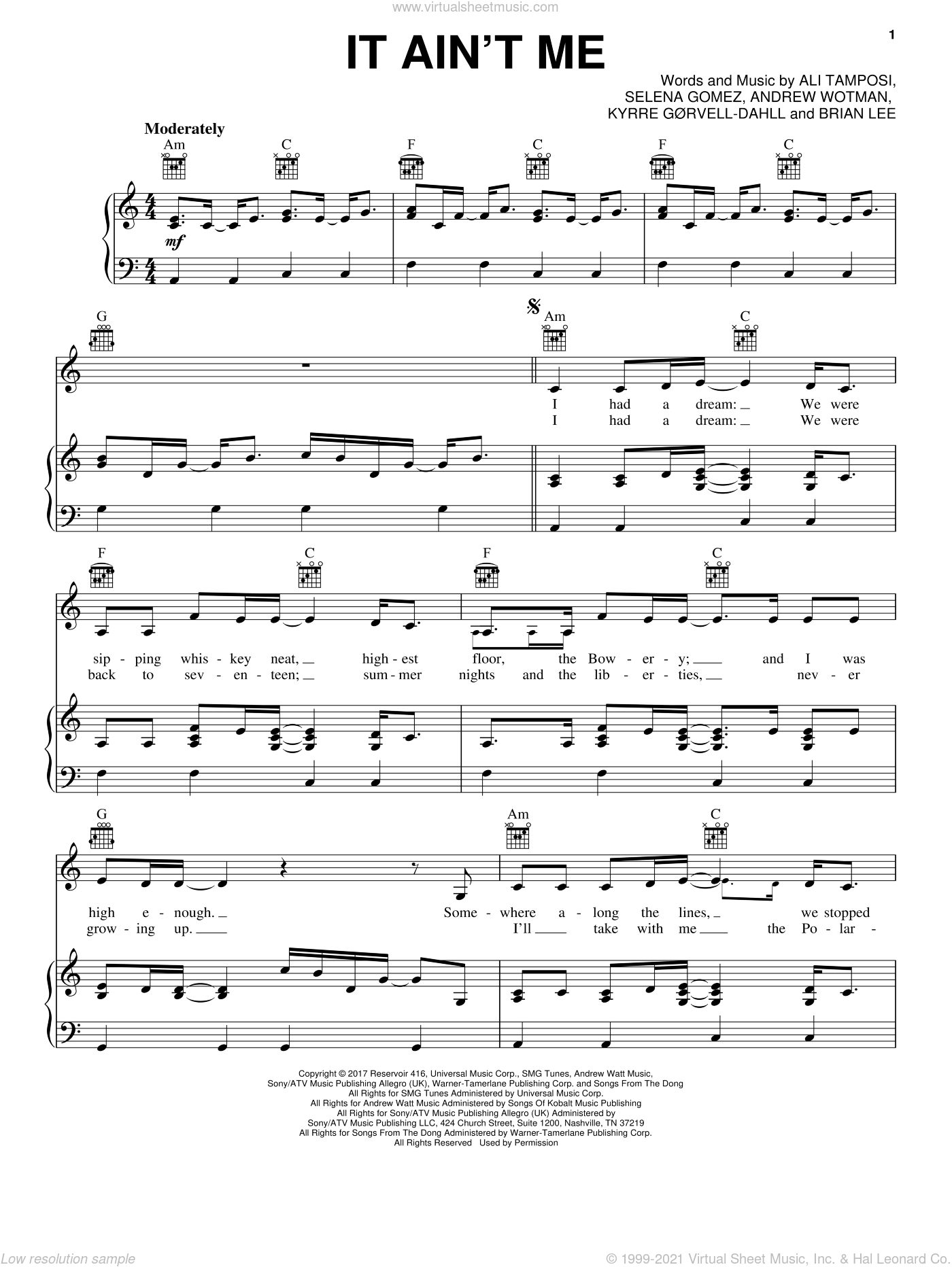 It Ain't Me sheet music for voice, piano or guitar by Selena Gomez, Ali Tamposi and Brian Lee. Score Image Preview.