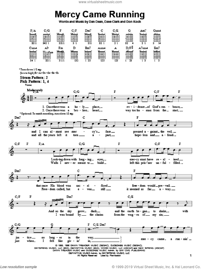 Mercy Came Running sheet music for guitar solo (chords) by Phillips, Craig & Dean, easy guitar (chords). Score Image Preview.