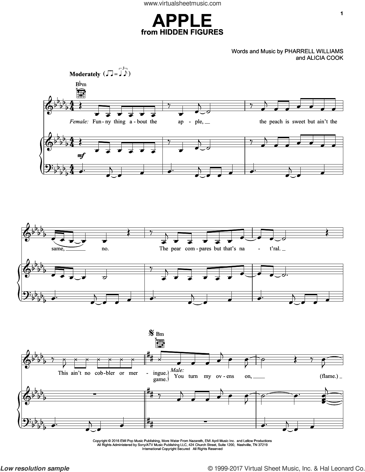 Apple sheet music for voice, piano or guitar by Pharrell Williams. Score Image Preview.