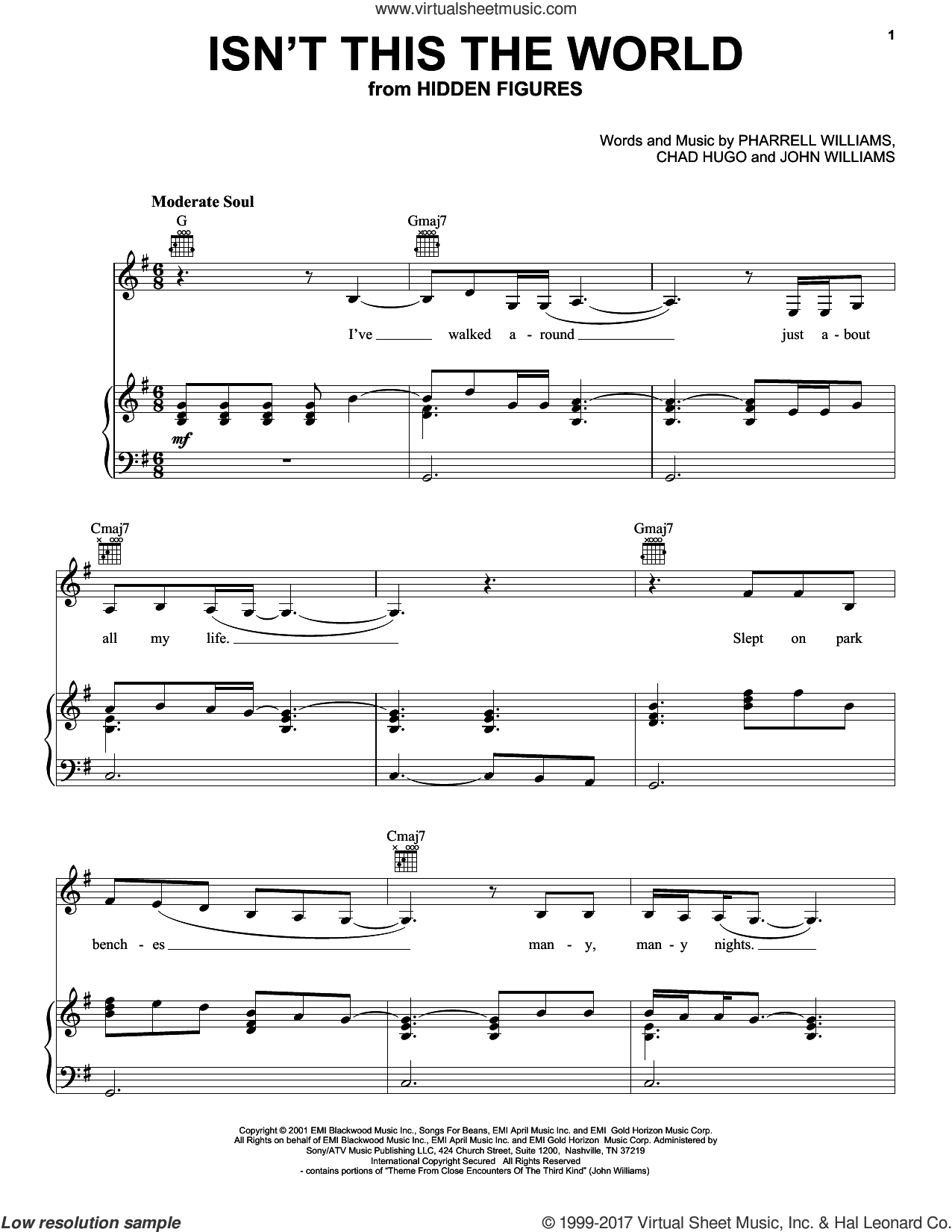 Isn't This The World sheet music for voice, piano or guitar by Pharrell Williams, Chad Hugo and John Williams. Score Image Preview.