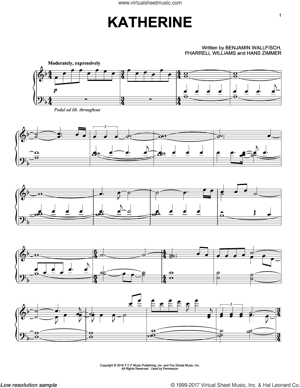 Katherine sheet music for voice, piano or guitar by Pharrell Williams and Hans Zimmer. Score Image Preview.