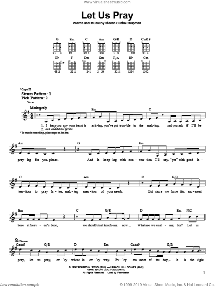 Let Us Pray sheet music for guitar solo (chords) by Steven Curtis Chapman, easy guitar (chords)