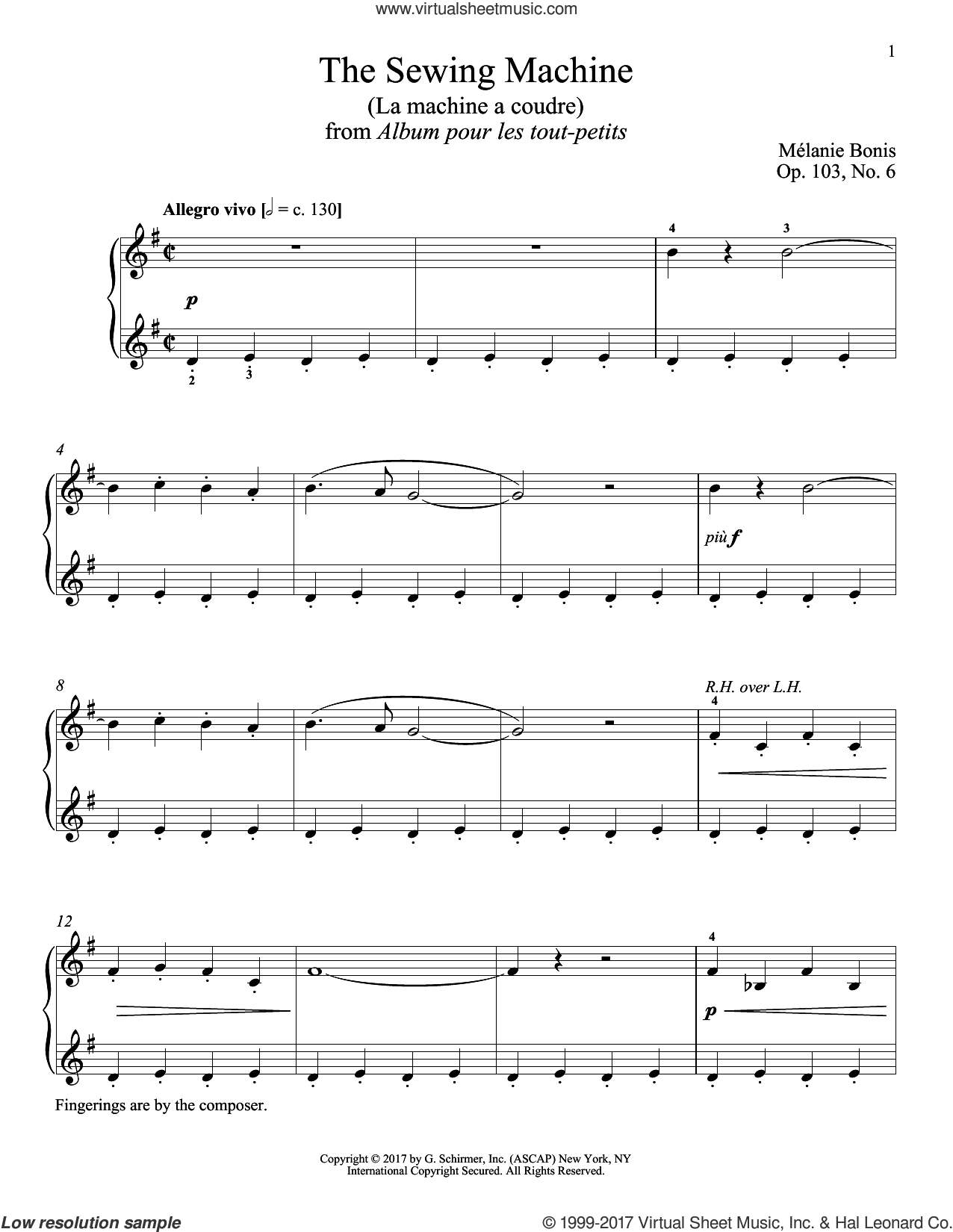 The Sewing Machine (La machine a courde) sheet music for piano solo by Melanie Bonis and Richard Walters. Score Image Preview.