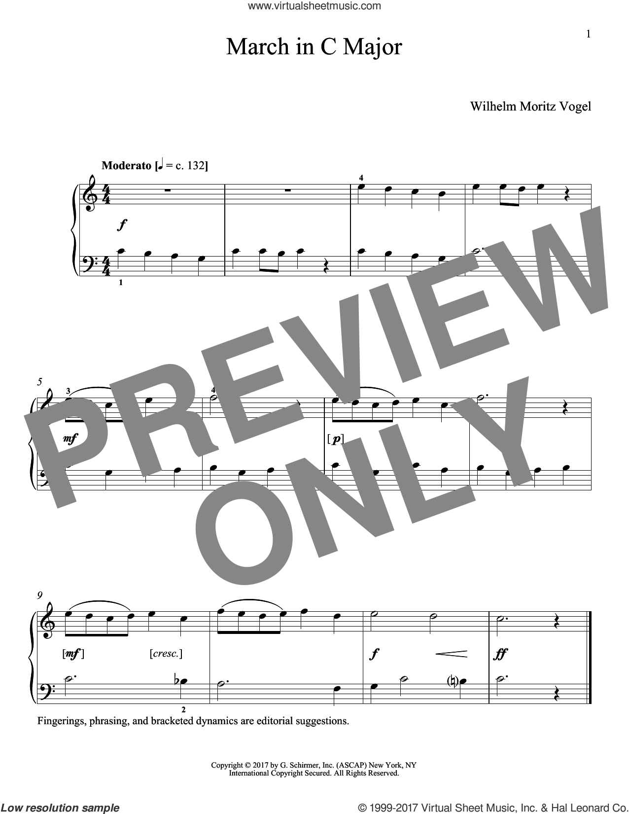 March In C Major sheet music for piano solo by Moritz Vogel and Richard Walters, classical score, intermediate skill level