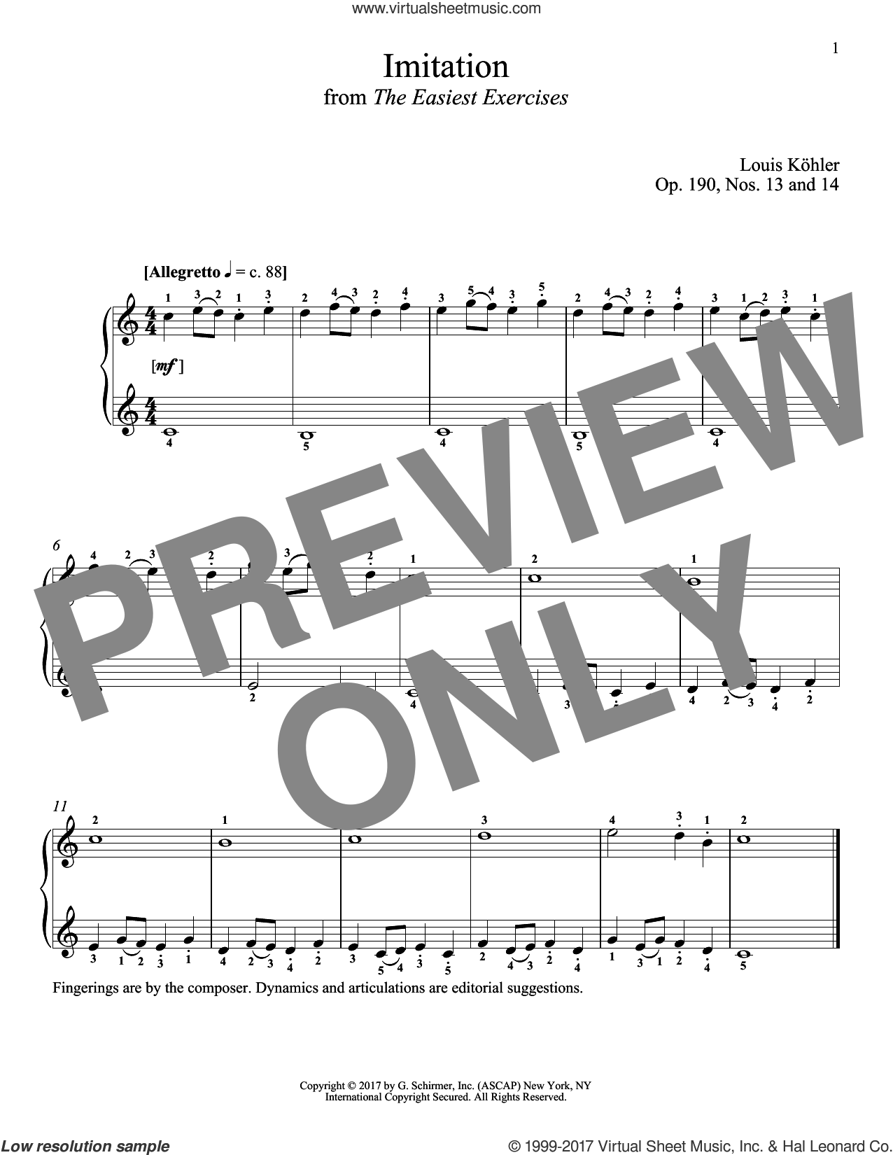 Imitation, Op. 190, Nos. 13 and 14 sheet music for piano solo by Louis Kohler and Richard Walters. Score Image Preview.