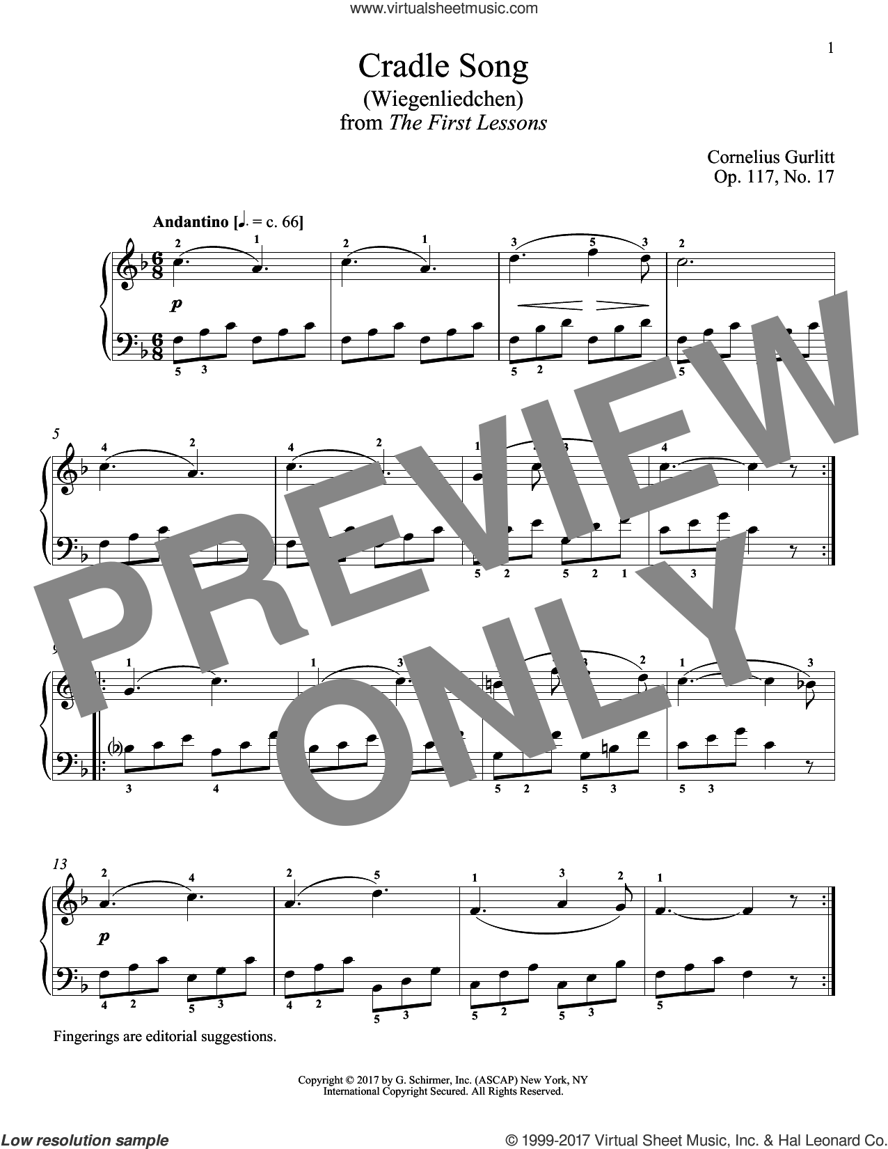 Cradle Song (Wiegenliedchen), Op. 117, No. 17 sheet music for piano solo by Cornelius Gurlitt and Richard Walters, classical score, intermediate skill level