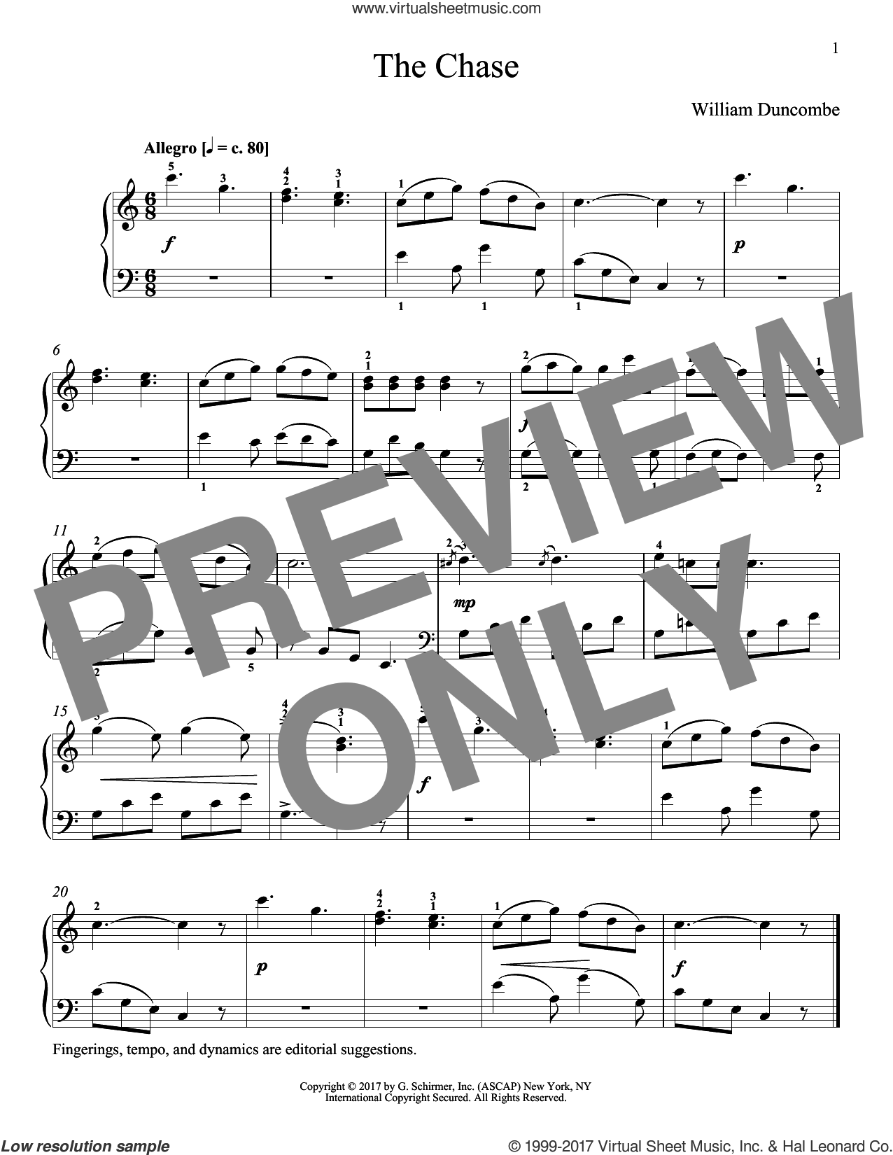 The Chase sheet music for piano solo by William Duncombe and Richard Walters. Score Image Preview.