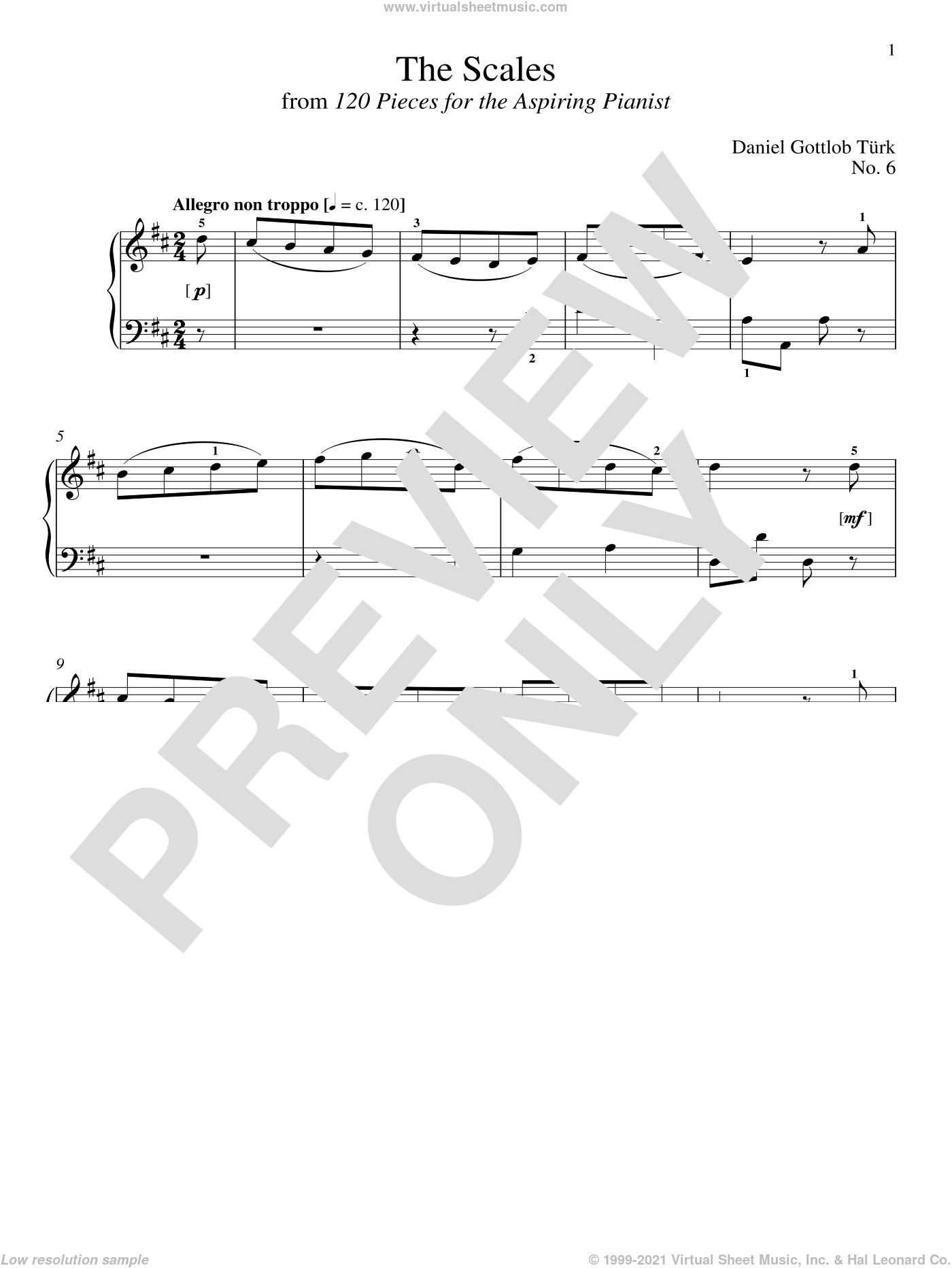 The Scales sheet music for piano solo by Daniel Gottlob Turk and Richard Walters, classical score, intermediate skill level