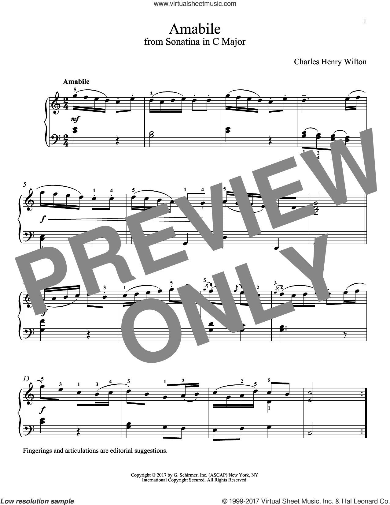 Amabile sheet music for piano solo by Charles Henry Wilton and Richard Walters, classical score, intermediate
