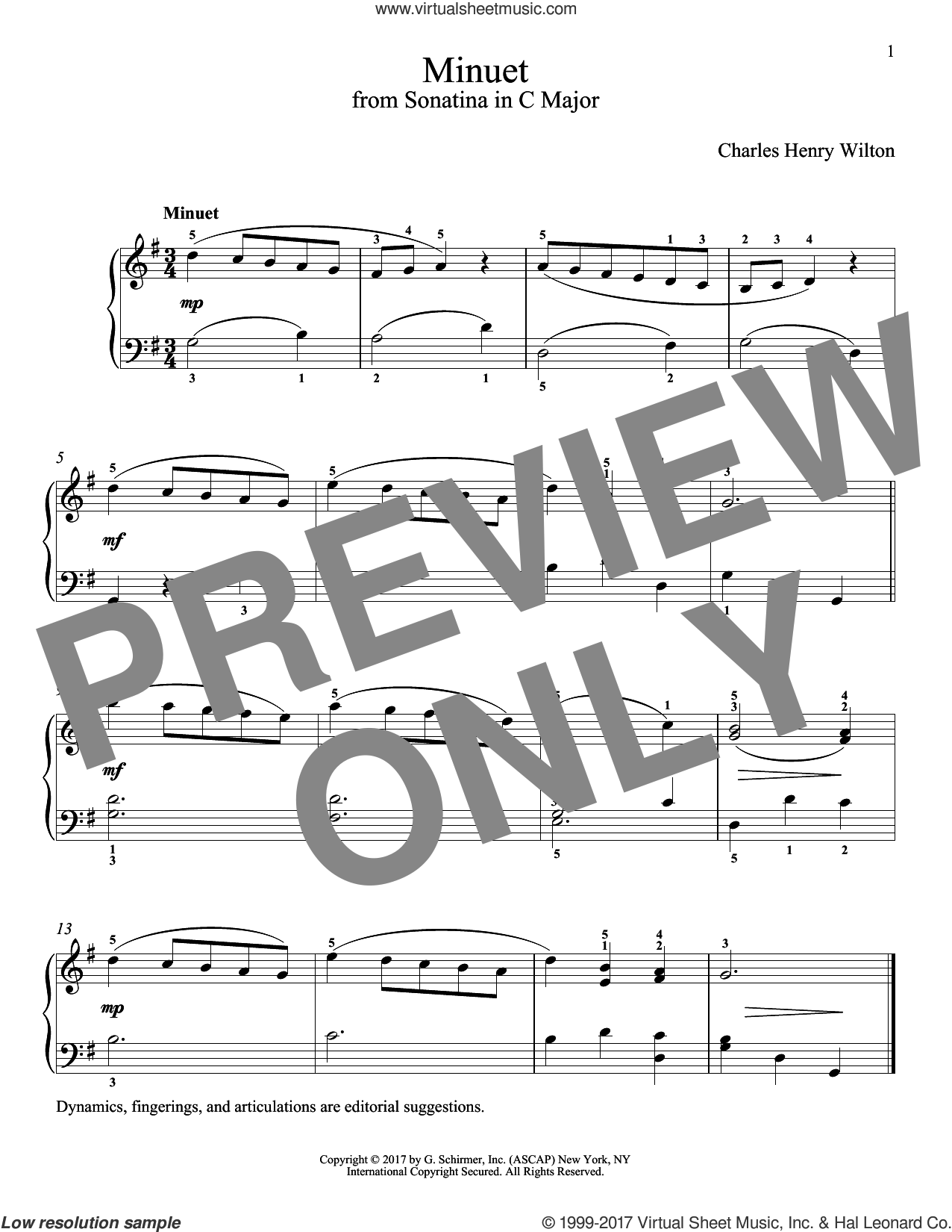 Minuet sheet music for piano solo by Charles Henry Wilton and Richard Walters. Score Image Preview.