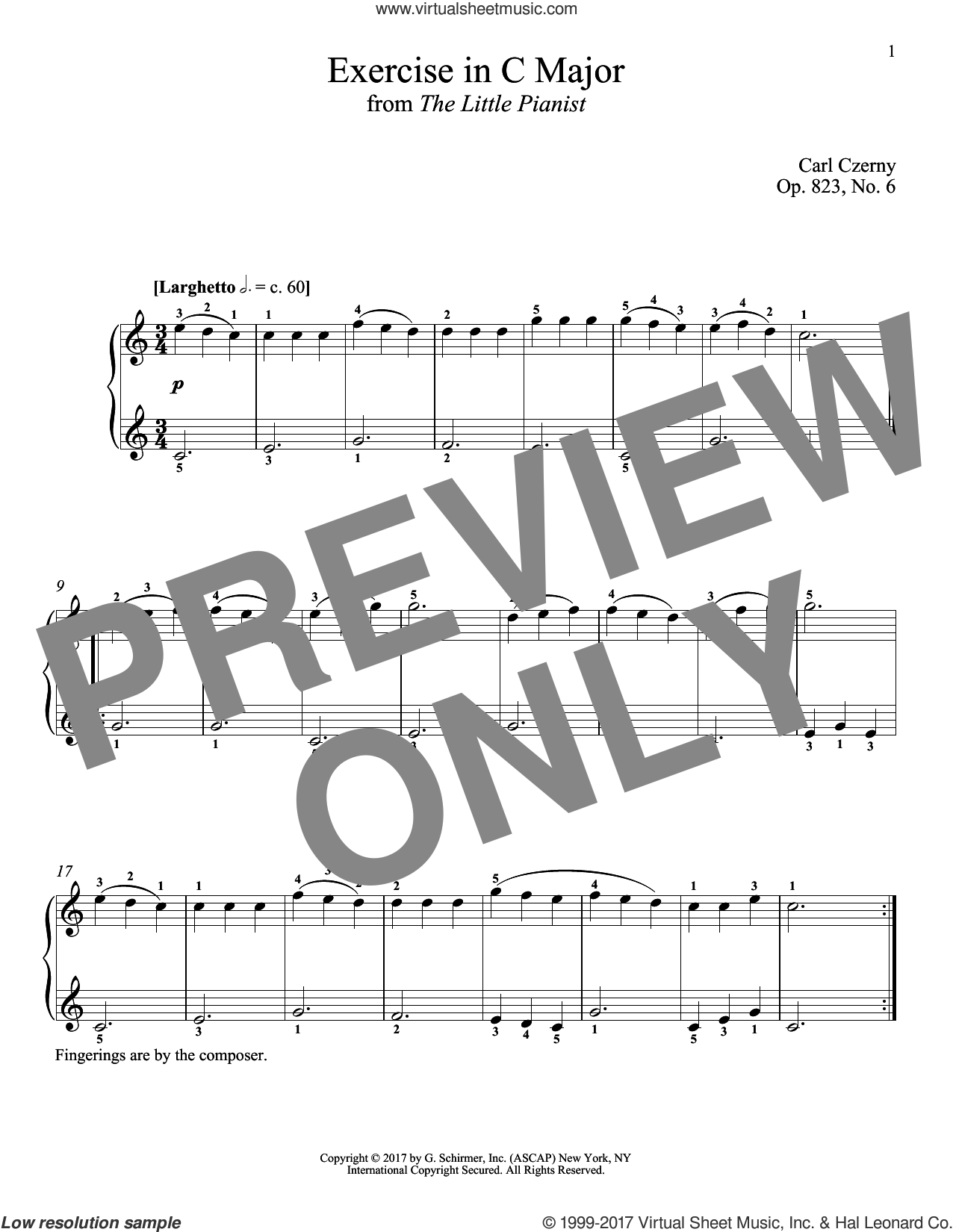 Exercise in C Major, Op. 823, No. 6 sheet music for piano solo by Carl Czerny and Richard Walters, classical score, intermediate skill level