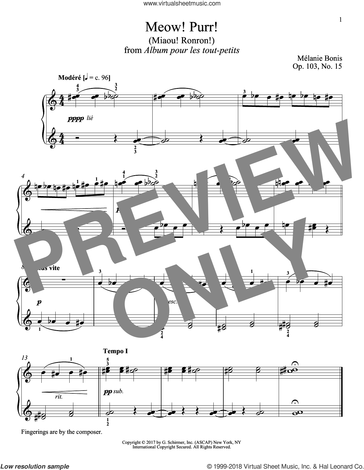 Meow! Purr! (Miaou! Ronron!) sheet music for piano solo by Melanie Bonis and Richard Walters, classical score, intermediate skill level