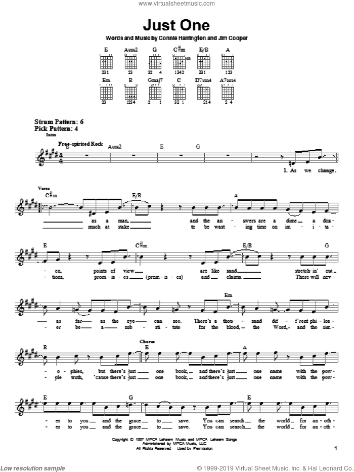 Just One sheet music for guitar solo (chords) by Jim Cooper, Phillips, Craig & Dean and Connie Harrington. Score Image Preview.