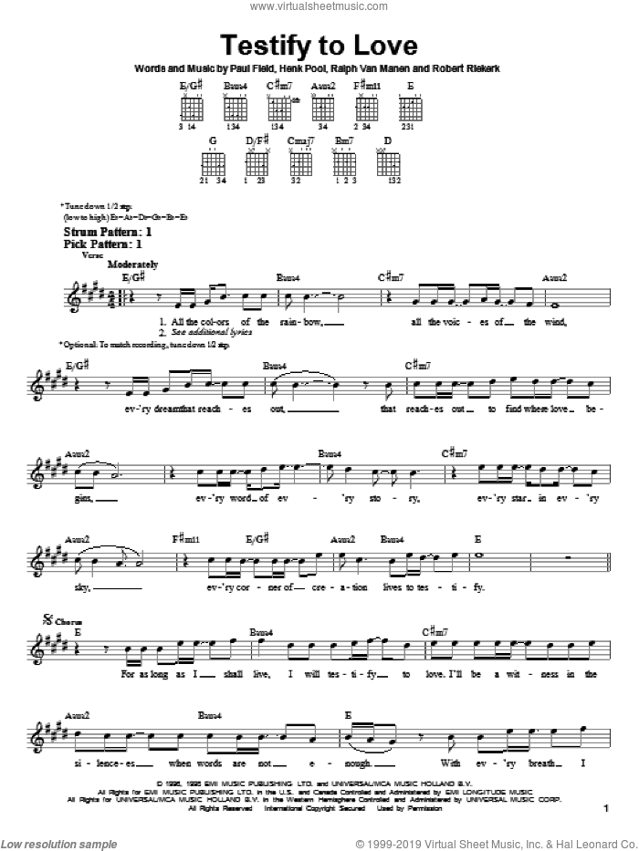 Testify To Love sheet music for guitar solo (chords) by Avalon, Henk Pool, Paul Field, Ralph Van Manen and Robert Riekerk, easy guitar (chords)