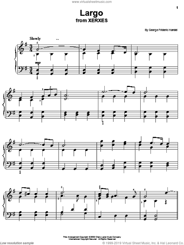 Largo sheet music for piano solo by George Frideric Handel, classical wedding score, easy skill level