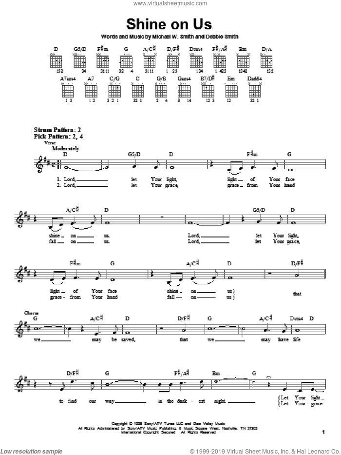 Shine On Us sheet music for guitar solo (chords) by Phillips, Craig & Dean, Debbie Smith and Michael W. Smith, wedding score, easy guitar (chords). Score Image Preview.
