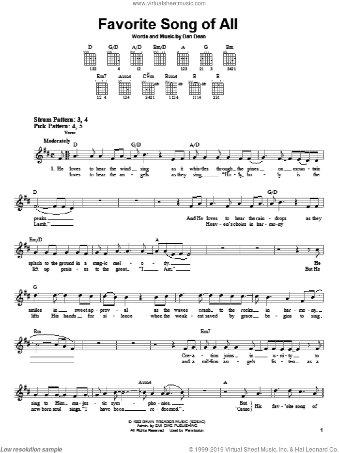 Favorite Song Of All sheet music for guitar solo (chords) by Phillips, Craig & Dean and Dan Dean, easy guitar (chords)