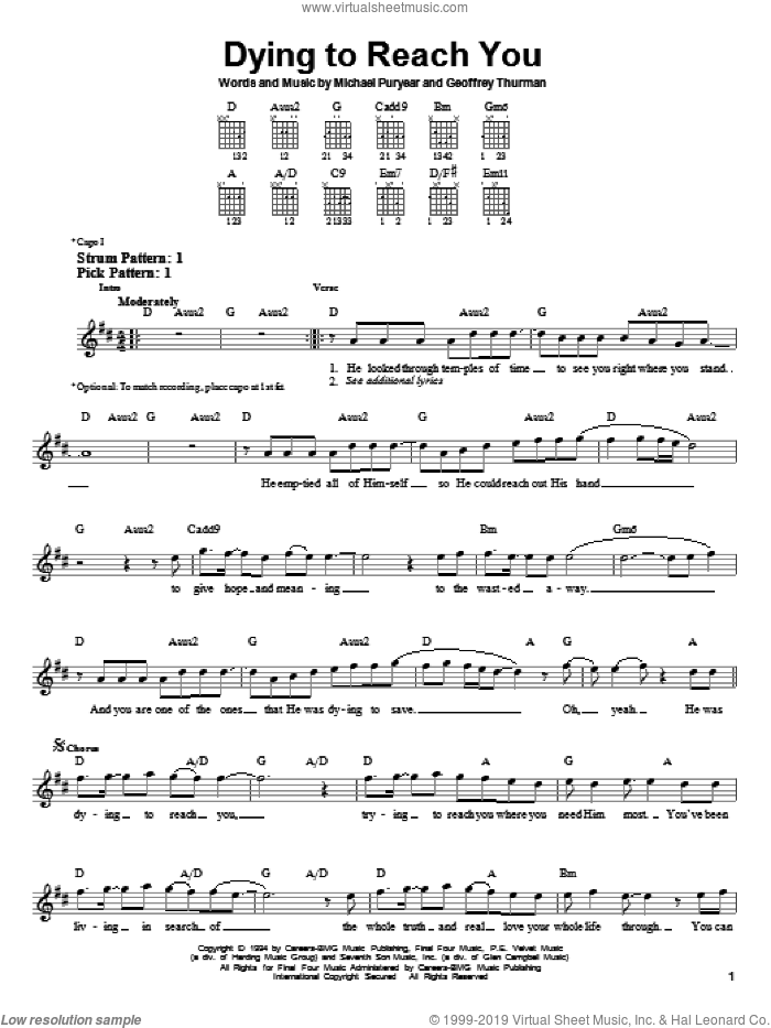 Dying To Reach You sheet music for guitar solo (chords) by Point Of Grace, Geoffrey Thurman and Michael Puryear, easy guitar (chords)
