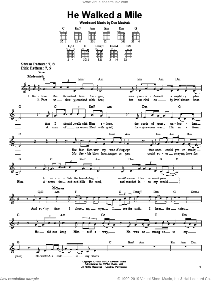 He Walked A Mile sheet music for guitar solo (chords) by Dan Muckala. Score Image Preview.
