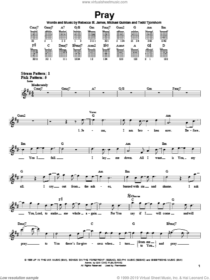 Pray sheet music for guitar solo (chords) by Rebecca St. James, Michael Quinlan and Tedd Tjornhom, easy guitar (chords)