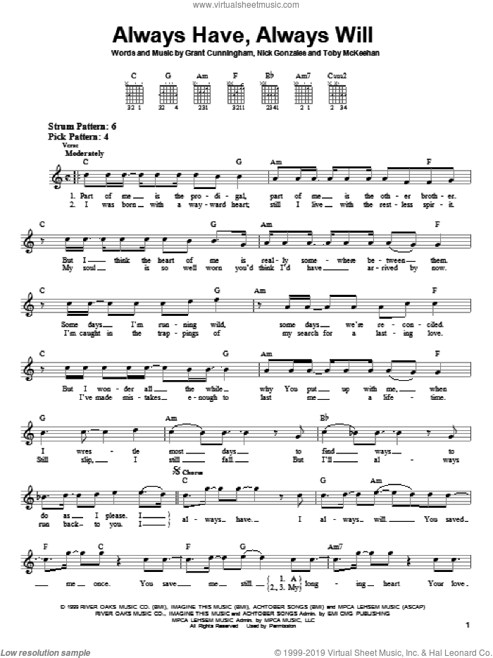 Always Have, Always Will sheet music for guitar solo (chords) by Toby McKeehan and Grant Cunningham. Score Image Preview.