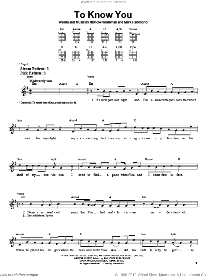To Know You sheet music for guitar solo (chords) by Nichole Nordeman and Mark Hammond, easy guitar (chords)
