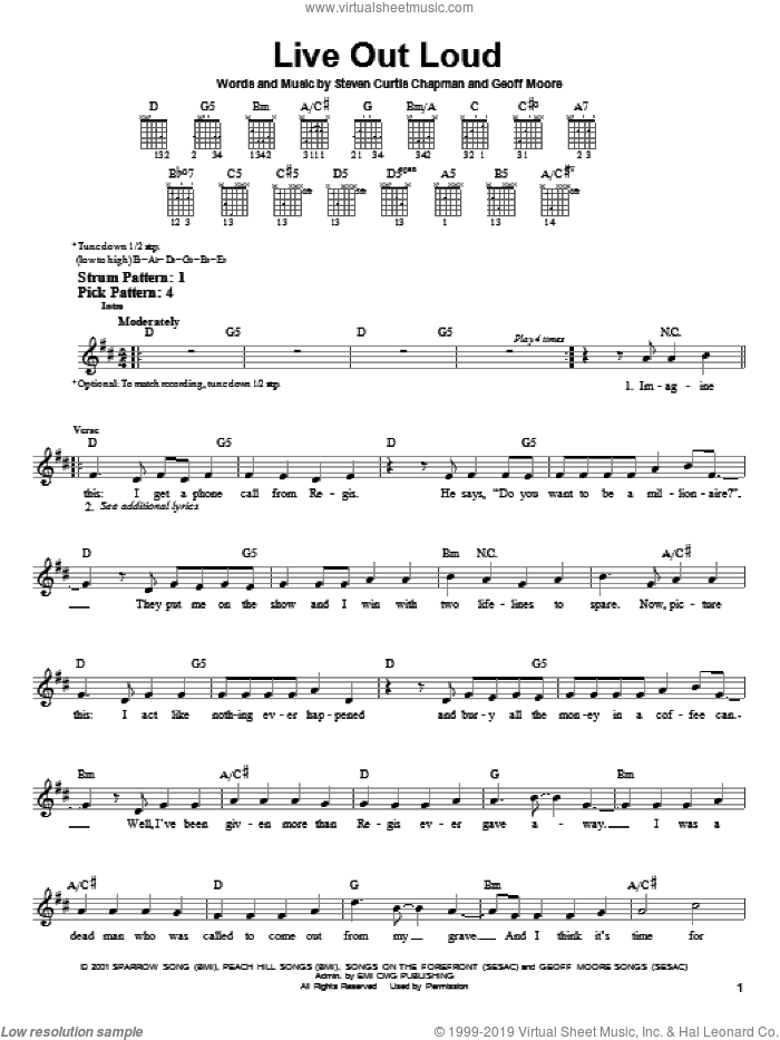 Live Out Loud sheet music for guitar solo (chords) by Steven Curtis Chapman and Geoff Moore. Score Image Preview.